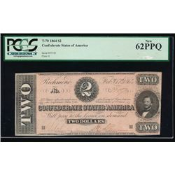 1864 $2 Confederate States of America Note PCGS 62PPQ