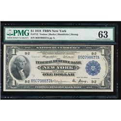 1918 $1 New York Federal Reserve Bank Note PMG 63