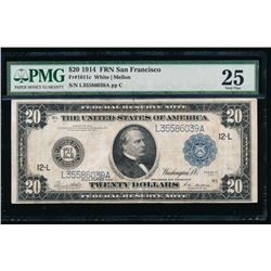 1914 $20 San Francisco Federal Reserve Note PCGS 25