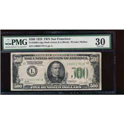 1928 $500 San Francisco Federal Reserve Note PMG 30