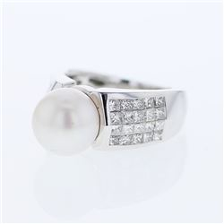 18KT White Gold 7.24ct Pearl and Diamond Ring