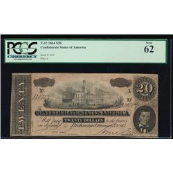1864 $20 Confederate States of America Note PCGS 62