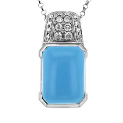 14KT White Gold 4.90ct Turquoise and Diamond Pendant with Chain