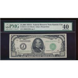 1934A $1000 Kansas City Federal Reserve Note PMG 40