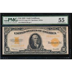 1922 $10 Large Gold Certificate PMG 55