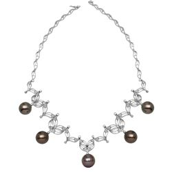 14KT White Gold 68.03ctw Tahitian Pearl and Diamond Necklace