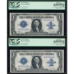 (2) 1923 $1 Reverse Change Over Silver Certificate Pair PCGS 65PPQ