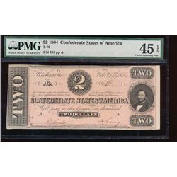 1864 $2 Confederate States of America Note PMG 45EPQ