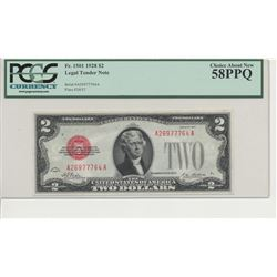 1928 $2 Legal Tender Note PCGS 58PPQ