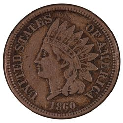 1860 Rounded Bust Indian Cent Coin