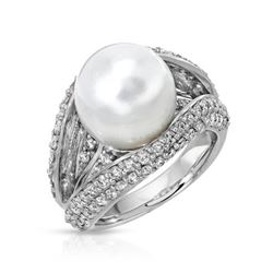 18KT White Gold 9.42ct Pearl and Diamond Ring
