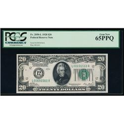 1928 $20 San Francisco Federal Reserve Note PCGS 65PPQ