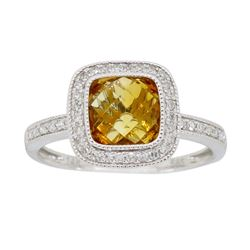 14KT White Gold 1.47ct Citrine and Diamond Ring