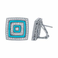 14KT White Gold 1.40ctw Turquoise and Diamond Earrings