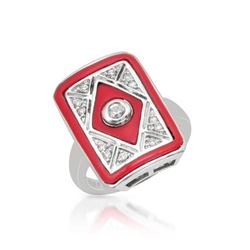 14KT White Gold 1.12ctw Coral and Diamond Ring