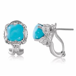 14KT White Gold 4.83ctw Turquoise and Diamond Earrings