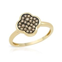 14KT Yellow Gold 0.28ctw Brown Diamond Ring