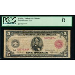 1914 $5 Chicago Red Seal Federal Reserve Note PCGS 12