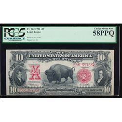 1901 $10 Bison Legal Tender Note PCGS 58PPQ