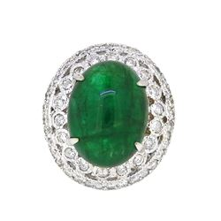18KT White Gold 12.20ct GIA Cert Emerald and Diamond Ring