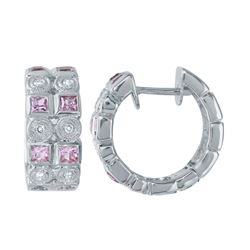 14KT White Gold 1.27ctw Sapphire and Diamond Earrings