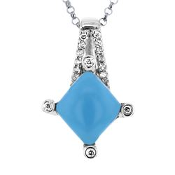 14KT White Gold 1.92ct Turquoise and Diamond Pendant with Chain