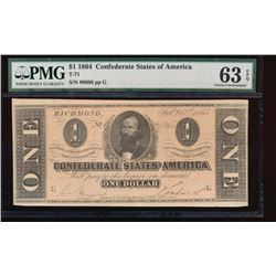 1864 $1 Confederate States of America Note PMG 63EPQ