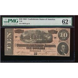 1864 $10 Confederate States of America Note PMG 62EPQ