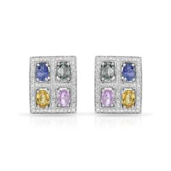 14KT White Gold 4.27ctw Multi Color Sapphire and Diamond Earrings