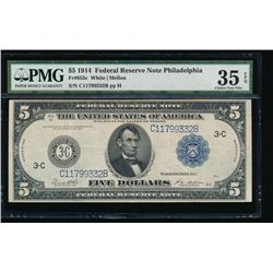 1914 $5 Philadelphia Federal Reserve Note PMG 35EPQ