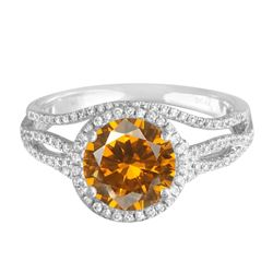 14KT White Gold 4.91ct Citrine and Diamond Ring