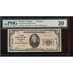 1929 $20 The Seaboard Citizens Nation Bank Note PMG 30