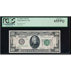1928 $20 Minneapolis Federal Reserve Note PCGS 65PPQ