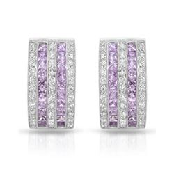 18KT White Gold 2.05ctw Pink Sapphire and Diamond Earrings