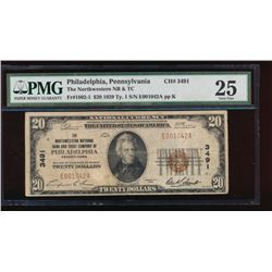 1929 $20 Northwestern Nation Bank Note PMG 25