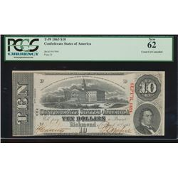 1863 $10 Confederate Cross Cut Cancelled Note PCGS 62