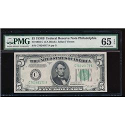 1934B $5 Philadelphia Federal Reserve Note PMG 65EPQ