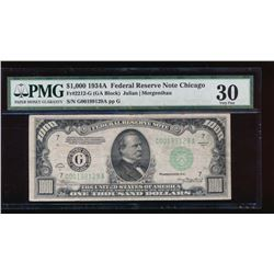 1934A $1000 Chicago Federal Reserve Note PMG 30