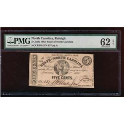 1863 Five Cent North Carolina Obsolete Note PMG 62EPQ