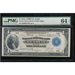 1918 $1 Saint Louis Federal Reserve Bank Note PMG 64EPQ