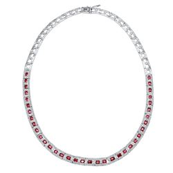 14KT White Gold 7.76ctw Ruby and Diamond Necklace