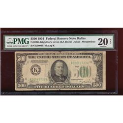 1934 $500 Dallas Federal Reserve Note PMG 20NET