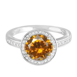 14KT White Gold 8.51ct Citrine and Diamond Ring