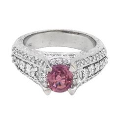 18KT White Gold 1.16ct Padparadscha Sapphire and Diamond Ring
