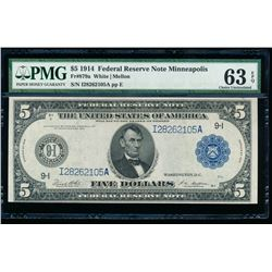 1914 $5 Minneapolis Federal Reserve Note PMG 63EPQ