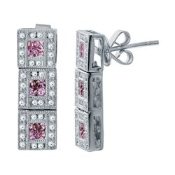 18KT White Gold 7.40ctw Pink Sapphire and Diamond Earrings