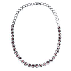 14KT White Gold 3.97ctw Ruby and Diamond Necklace