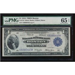 1918 $1 Boston Federal Reserve Bank Note PMG 65EPQ