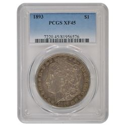 1893 $1 Morgan Silver Dollar Coin PCGS XF-45