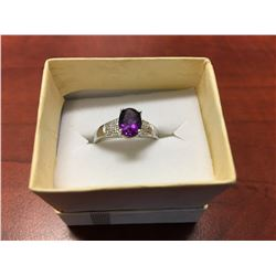 PURPLE AMETHYST & DIAMOND SOLITAIRE RING, OVAL CUT, 2 DIAMONDS, STERLING SILVER